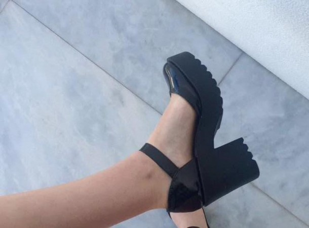 2076b3e172d shoes platform shoes grunge punk goth lolita hipster heels black ankle  strap sandals scully scullys chunky