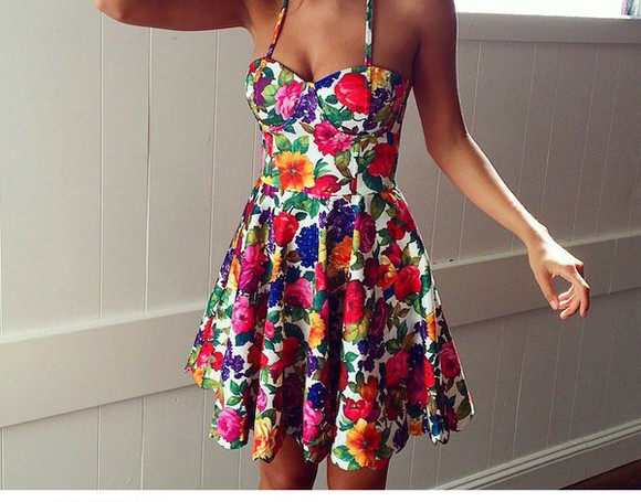red white flowers dress floral dress blue yellow pink beautiful