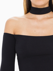 top,american apparel,spring,spring break,choker necklace,choker top,off the shoulder,off the shoulder top,black top,spring top,racerback,black,long sleeves
