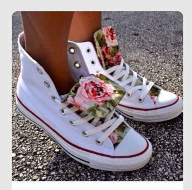 shoes white converse high top converse white shoes floral print shoes spring shoes