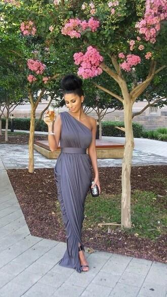 one shoulder gray dress long evening dresses