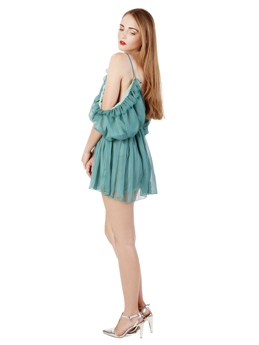 Choies Limited Edition Green Camis Pleated Romper Playsuit - Choies.com