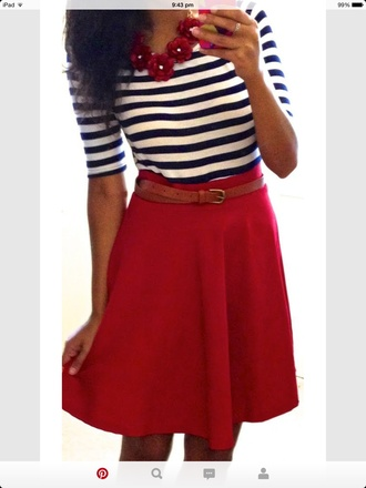 shirt striped top red skirt red necklace