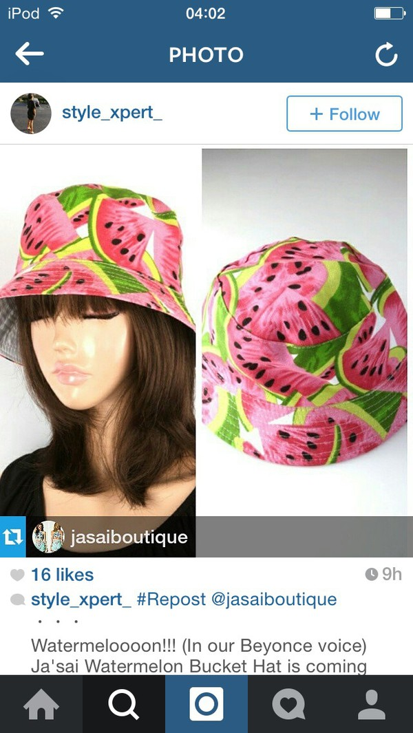 94d4329b55d492 Bucket Hat Watermelon Pineapple Banana Orange Vintage Fruit Print ...