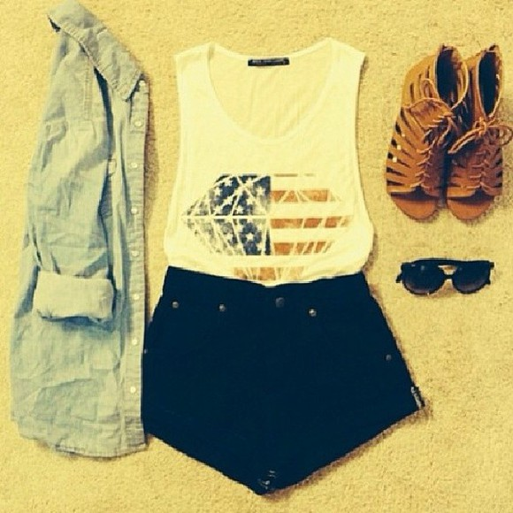 shoes diamond t-shirt tank top us flag shirt