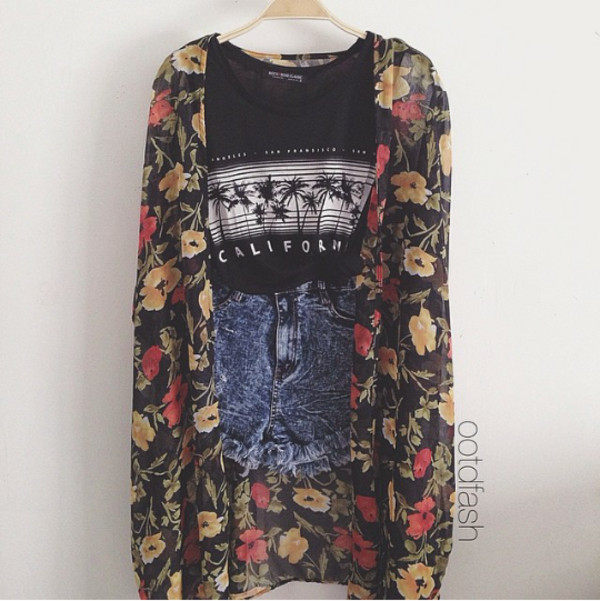 t-shirt shorts coat