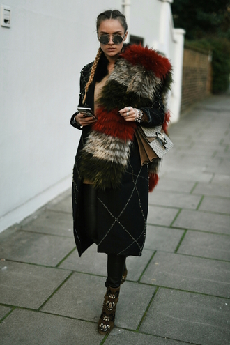 en vogue coop blogger coat shoes scarf dionysus fur scarf winter outfits braid printed boots printed ankle boots ankle boots high heels boots boots bag gucci gucci bag black coat winter coat sunglasses round sunglasses round frame glasses leather pants black leather pants black pants