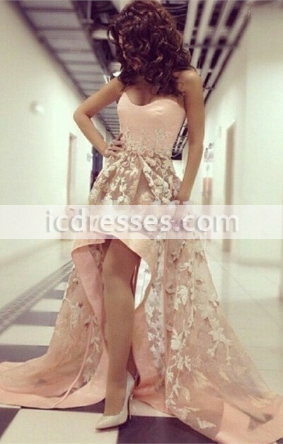 Myriam Fares Inspired High Low Organza Sexy Prom Dresses 2016 Sweetheart Neckline Sweep Train Appliques Champagne Party Dress