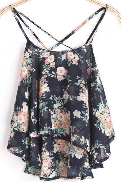 KCLOTH Black Spaghetti Strap Floral Chiffon Vest