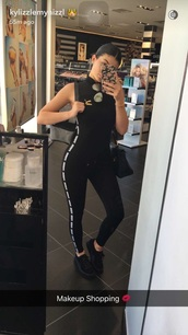 romper,puma,kylie jenner,black,jumpsuit,snapchat,all black everything,sportswear,All black  outfit