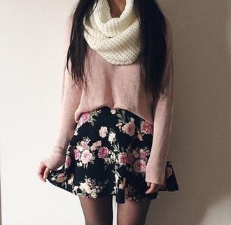 top tumblr black rose scarf tan sweater