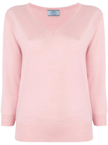 Prada sweater women wool purple knit pink