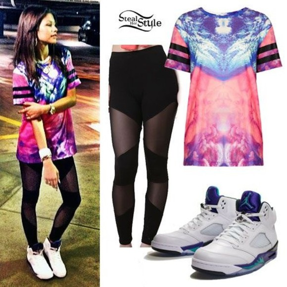 colorful patterns t-shirt dope shit jordans zendaya pants
