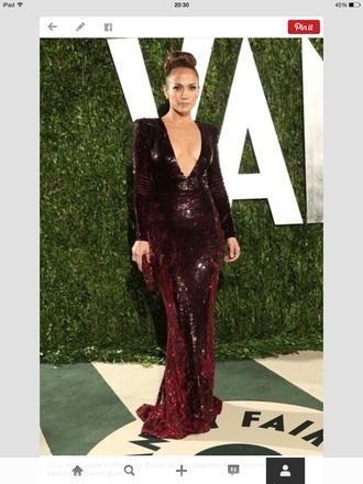 dress burgundy plunge sequin long sleeve