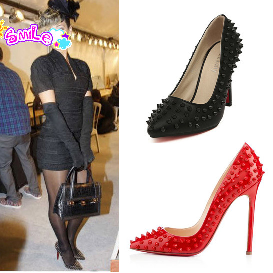 Women Pumps Red Bottom Studded Spike High Heels Stiletto With Spikes Rivets Heels Sapatos Shoes for Women Free Shipping L035417-in Pumps from Shoes on Aliexpress.com