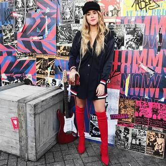 jacket hat tumblr blue jacket tommy hilfiger boots red boots over the knee fisherman cap