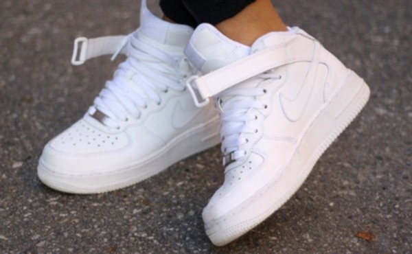 ... nike air force 1 mid white on white basketball shoe city gear ...