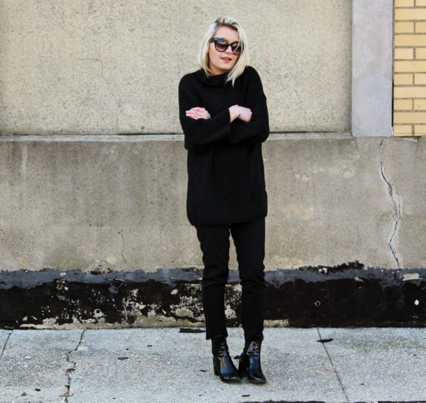 platinum and penniless blogger sweater pants sunglasses minimalist black pants black black shoes