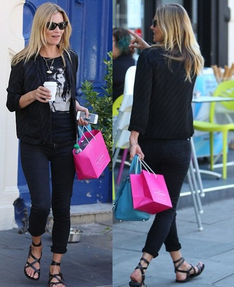 kate moss shoes pants jacket sandals