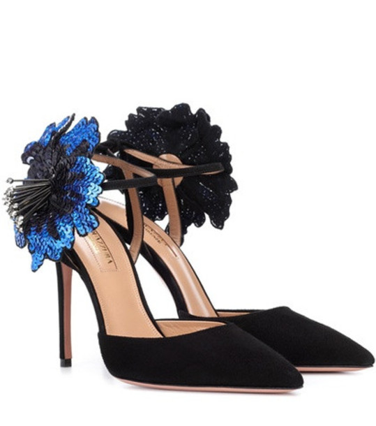 Aquazzura Disco Flower 105 suede pumps in black