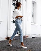 jeans,high waisted jeans,cropped jeans,pumps,slingbacks,white blouse,watch,sunglasses,earrings,scarf