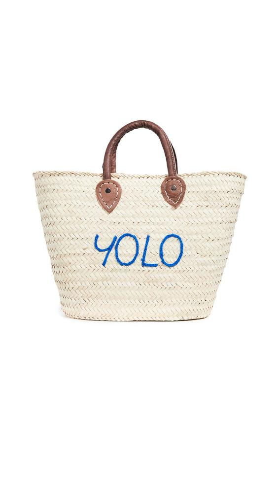 Poolside Bags Le Superette 'Yolo' Medium Tote in blue / natural