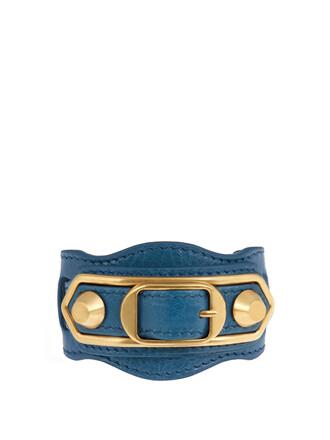 metallic classic leather blue jewels