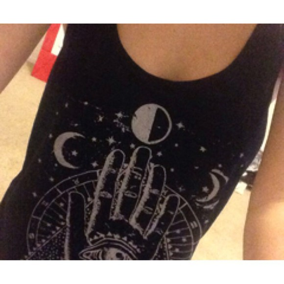moon black tank top stars