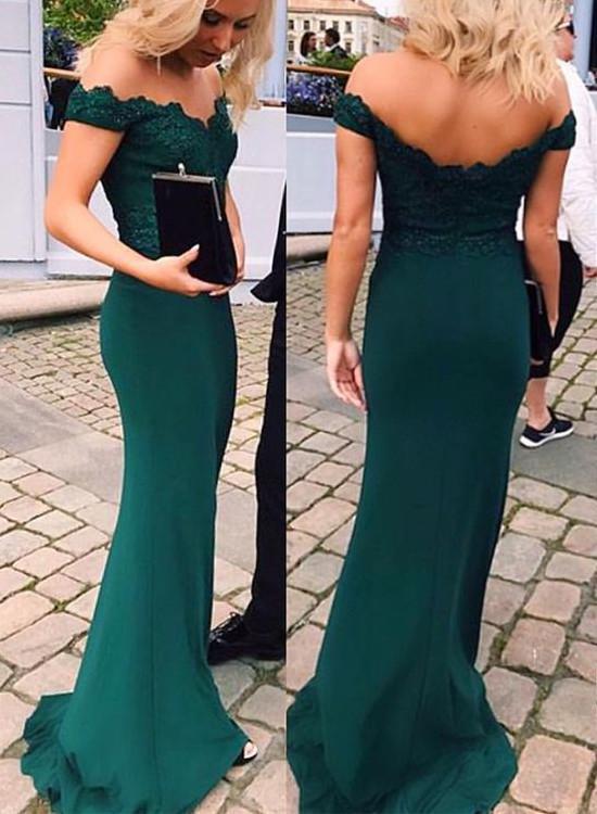 2ba6b72db588 Pretty Mermaid Long Off Shoulder Prom Dresses 2018, Prom Gowns ...