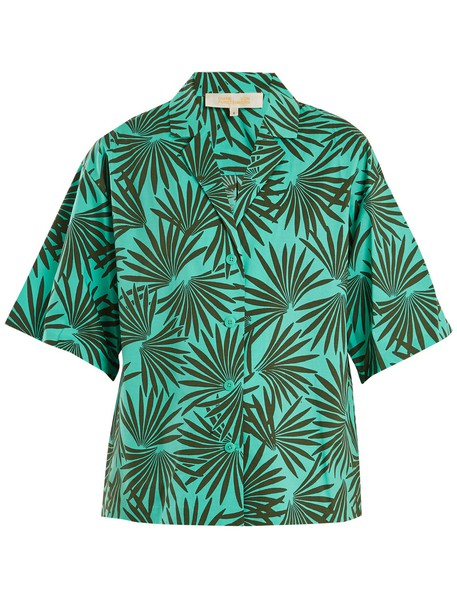 shirt short cotton green top