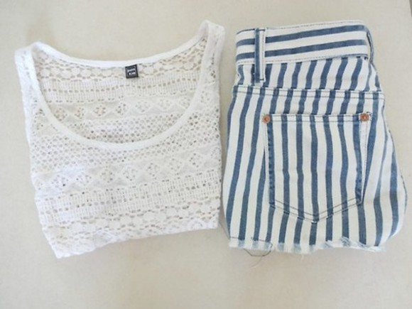 blue and white striped stripes pinstipe shorts pinstripe blue and white perfect for summer