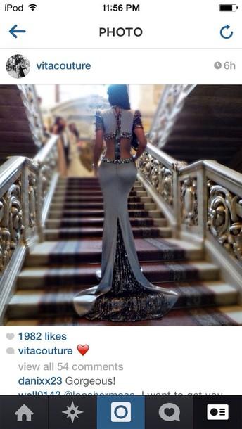 dress long evening dress open back blue dress glitter dress
