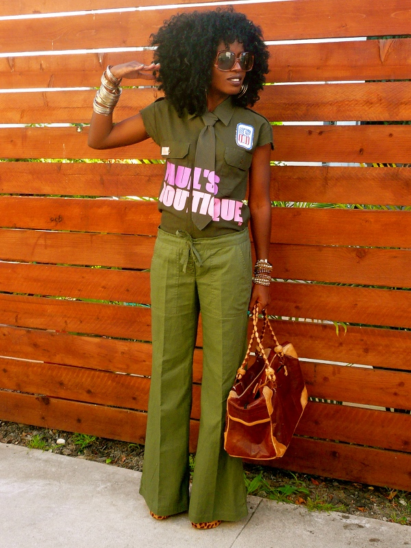 Style Pantry | Military Paul's Boutique shirt   Wide Leg Pants