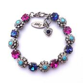 jewels,siggy jewelry,bracelets,jewelry,pink,fuchsia,blue,navy,royal blue,sparkle,bling,tennis bracelet,flower bracelet,arm candy,cute,trendy,stacking bracelet,mothers day gift idea,etsy,hand made,heart,charms,charm bracelet,swarovski crystals,accessories,summer outfits,spring outfits,style,streetstyle