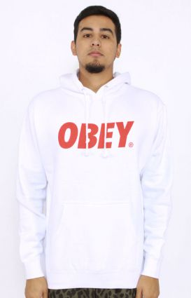 OBEY, Obey Font Pullover Hoodie - White/Red - Outerwear - MOOSE Limited