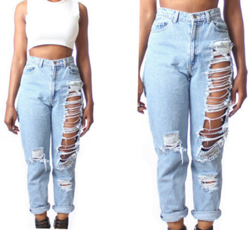 com : Buy European Vintage Holes Ripped Jeans Denim Blue White ...