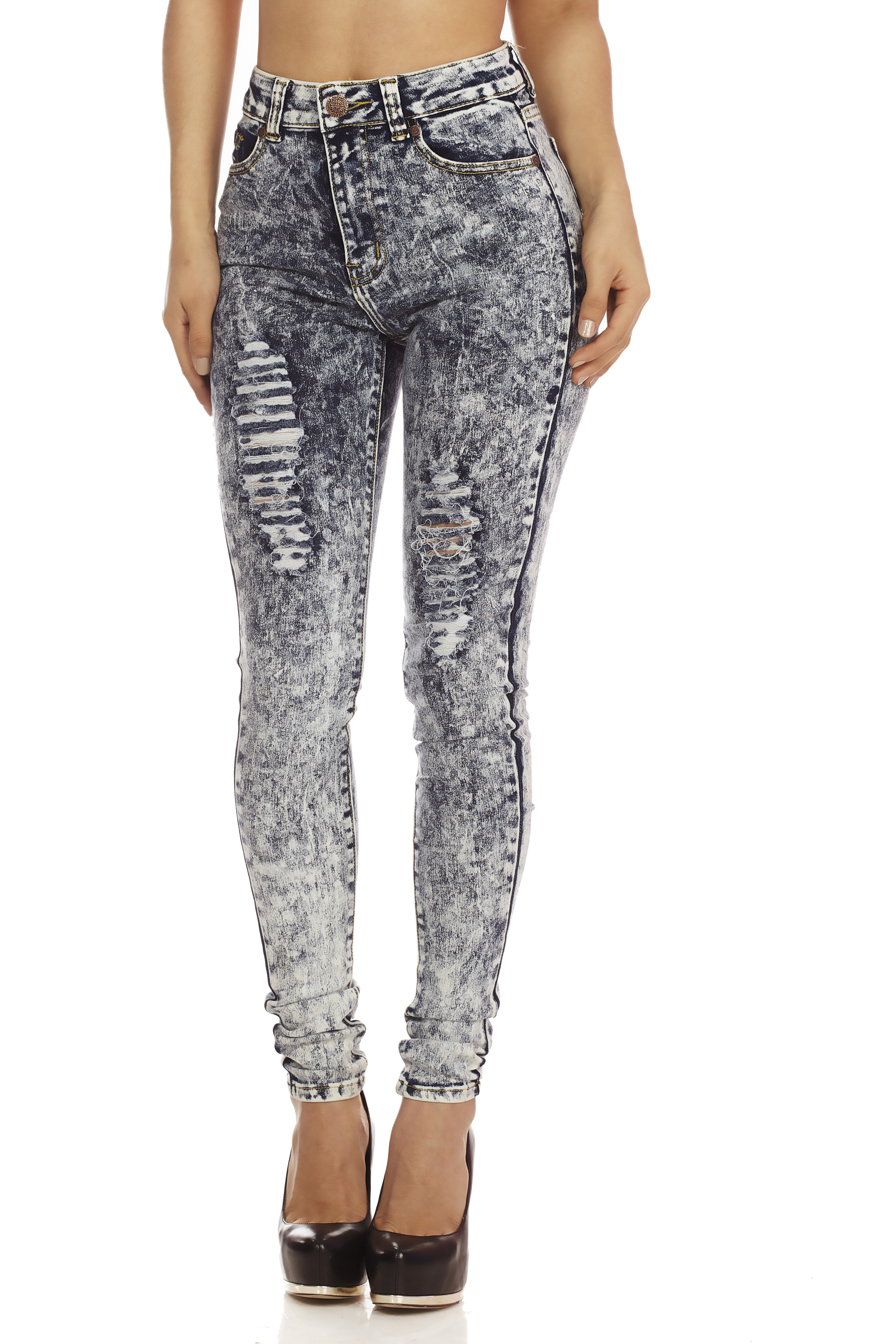 Distressed acid wash denim high waisted skinny jeans