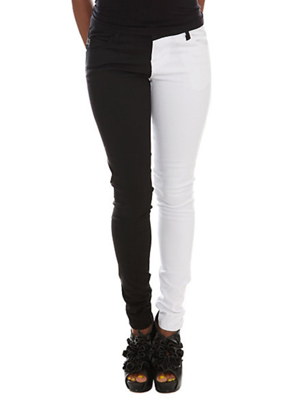 jeans clothes two tone black white bottoms scene punk hot girl pants