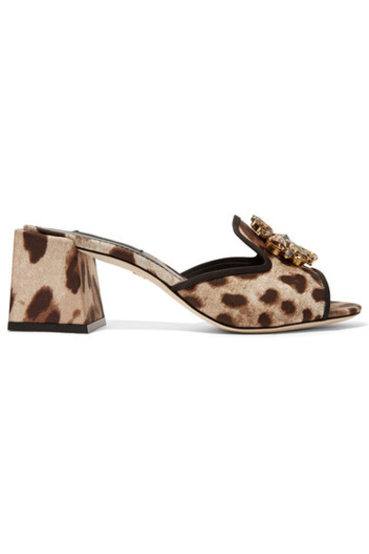 Dolce & Gabbana embellished mules print leopard print shoes