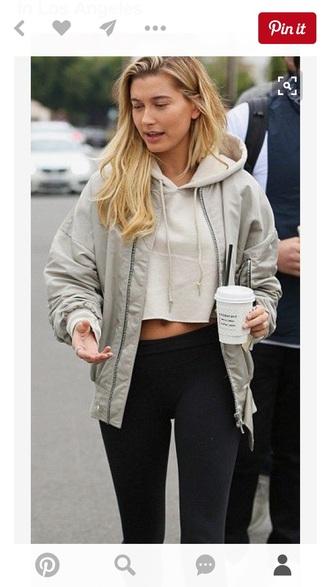 jacket hailey baldwin cropped hoodie hoodie bomber jacket black leggings leggings nude jacket beige sweater cropped sweater