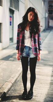 shorts,white graphic t-shirt,distressed denim shorts,tights,blogger,checkered shirt,black sneakers