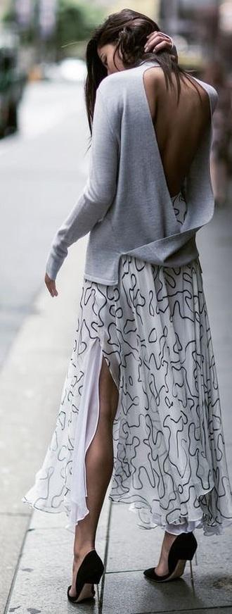 skirt artsy white black maxi skirt loose frilly dress top backless top backless grey top long sleeves slit maxi skirt white skirt