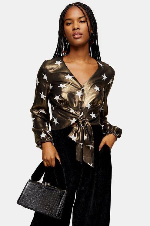 Star Foil Tie Front Blouse - Black