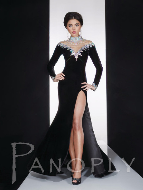 5dd347ece8 dress diamonds panoply velvet prom dress 272165 long sleeve dress black  black dress