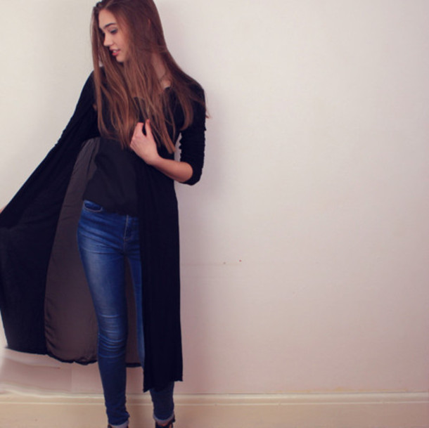 Cardigan: black cardigan, maxi cardigan, sheer cardigan, summer ...