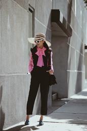 hallie daily,blogger,shirt,jumpsuit,bag,shoes,hat,make-up,sunglasses,work outfits,cropped jumpsuit,black jumpsuit,straw hat,sun hat,white sunglasses,gucci,gucci bag,shoulder bag,pink shirt,bow shirt,black bag,blue shoes,big hat