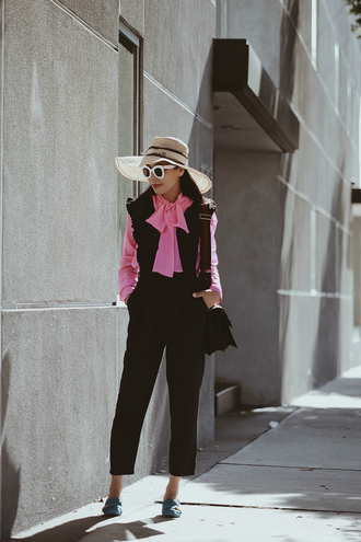 hallie daily blogger shirt jumpsuit bag shoes hat make-up sunglasses work outfits cropped jumpsuit black jumpsuit straw hat sun hat white sunglasses gucci gucci bag shoulder bag pink shirt bow shirt black bag blue shoes