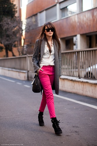 andy style scrapbook pink jeans jeans pink colorful jeans pink pants light pink shirt wool coat ankle boots high heels boots black boots