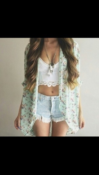 short jewels long hair necklace outfit