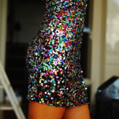dress,sequins,colorful,cocktail dress,new year's eve,multi sequin dress